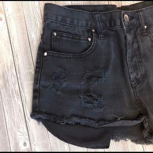 Black High Waist Button Down Shorts!